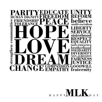 An abstract typographic inspirational poster for Martin Luther King Day on a white background