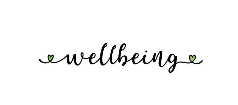 Hand sketched WELLBEING word as logo. Lettering for web ad banner, flyer, header, advertisement, poster, label,sticker,announcement