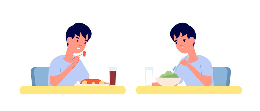 Boy eating. Home breakfast, healthy vs unhealthy food. Toddler at table, vitamine or fast food lunch. Hungry child utter vector characters. Illustration boy eat healthy and unhealthy diet