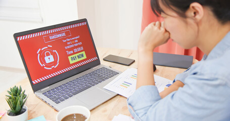 Asian girl face hacker online - fototapety na wymiar