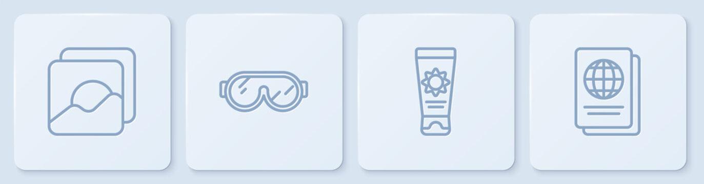 Set line Photo, Sunscreen cream in tube, Ski goggles and Passport. White square button. Vector.