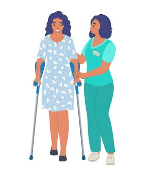 Rehabilitation center. Patient learning to walk using crutches with help of doctor physiotherapist, flat vector illustration. Rehabilitation, physiotherapy treatment of people with injury, disability.
