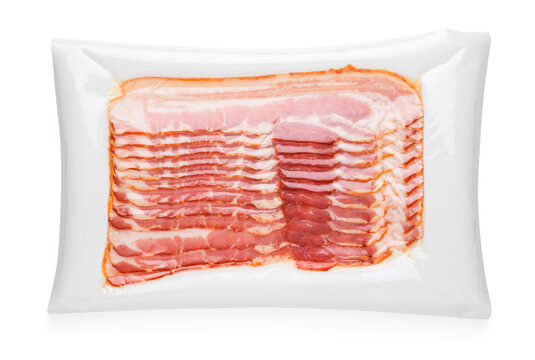 Raw bacon slice in vacuum package