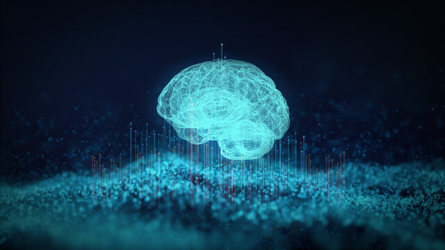 Concept of an Active Human Brain on a Dark Background.Blurry abstract 3d Rendering Abstract Background blue Network concept . Future backgroundTechnology concept.copy space.