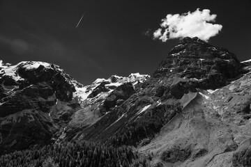 Mountain landscape along the road to Stelvio pass at summer. Glacier Fotobehang