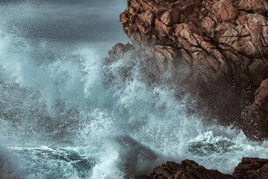 stormy sea at the rocky coast of Brittany, Fance