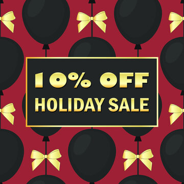 10% OFF HOLIDAY SALE - card. Vector stock illustration eps10.