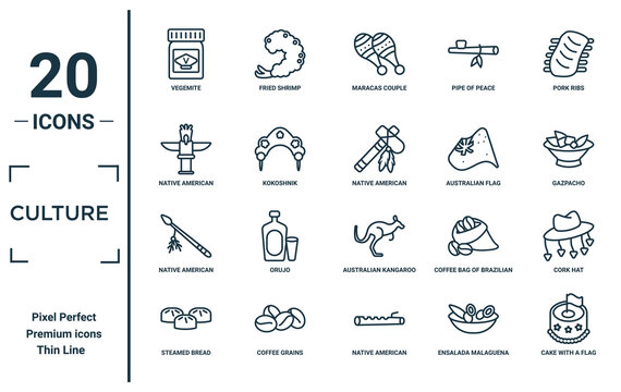 culture linear icon set. includes thin line vegemite, native american totem, native american spear, steamed bread, cake with a flag, native american tomahawk, cork hat icons for report,