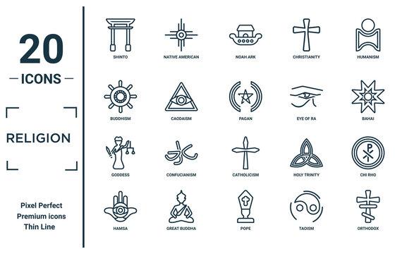religion linear icon set. includes thin line shinto, buddhism, goddess, hamsa, orthodox, pagan, chi rho icons for report, presentation, diagram, web design