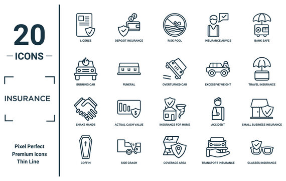 insurance linear icon set. includes thin line license, burning car, shake hands, coffin, glasses insurance, overturned car, small business insurance icons for report, presentation, diagram, web