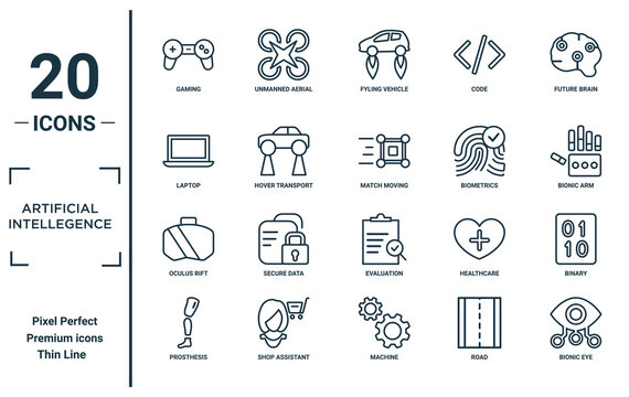 artificial.intellegence linear icon set. includes thin line gaming, laptop, oculus rift, prosthesis, bionic eye, match moving, binary icons for report, presentation, diagram, web design