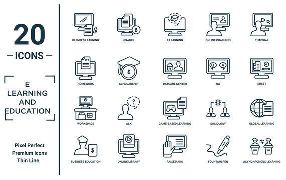 e.learning.and.education linear icon set. includes thin line blended learning, homework, workspace, business education, asynchronous learning, daycare center, global learning icons for report,