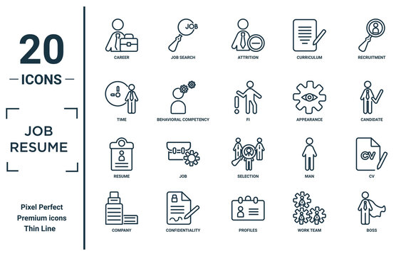 job.resume linear icon set. includes thin line career, time, resume, company, boss, fi, cv icons for report, presentation, diagram, web design