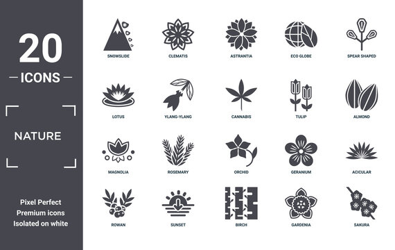 nature icon set. include creative elements as snowslide, spear shaped, tulip, orchid, sunset, magnolia filled icons can be used for web design, presentation, report and diagram