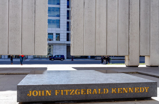 DALLAS, TEXAS- March 16. 2019, 2016: Kennedy Memorial, a tribute to John Fitzgerald Kennedy.