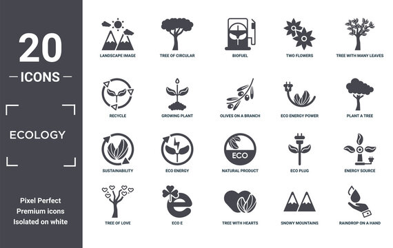ecology icon set. include creative elements as landscape image, tree with many leaves, eco energy power, natural product, eco e, sustainability filled icons can be used for web design, presentation,