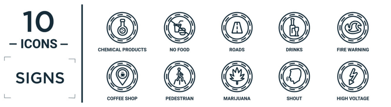 signs linear icon set. includes thin line chemical products, roads, fire warning, pedestrian, shout, high voltage, coffee shop icons for report, presentation, diagram, web design