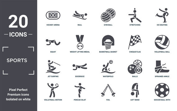 sports icon set. include creative elements as hockey arena, ice skating, cheque flag, waterpolo, pencak silat, jet surfing filled icons can be used for web design, presentation, report and diagram