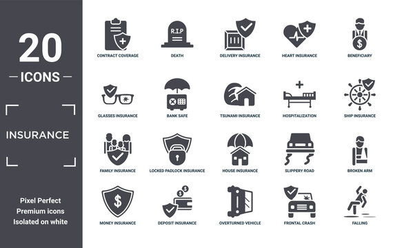 insurance icon set. include creative elements as contract coverage, beneficiary, hospitalization, house insurance, deposit insurance, family filled icons can be used for web design, presentation,