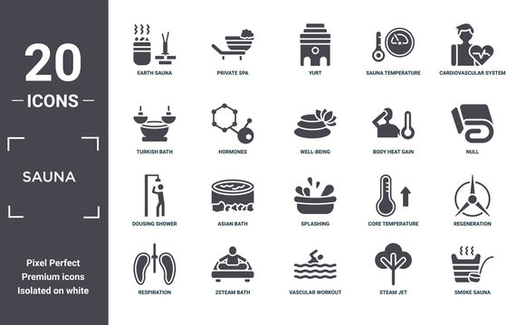 sauna icon set. include creative elements as earth sauna, cardiovascular system, body heat gain, splashing, 2steam bath, dousing shower filled icons can be used for web design, presentation, report