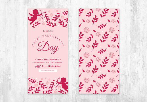 Valentine's Pink Card Layout with Rose and Cupid Pattern