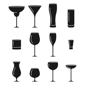 Set of different types of alcoholic drinks like cocktails, wine, beer and more in vector