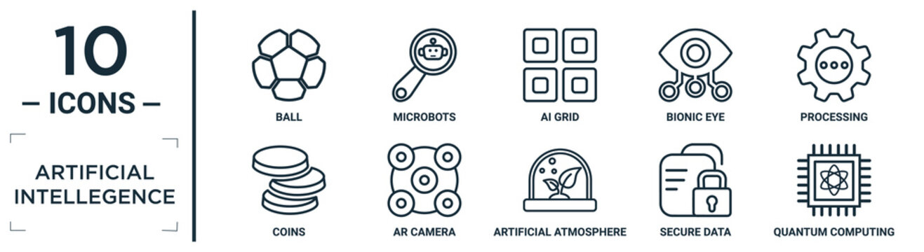 artificial.intellegence linear icon set. includes thin line ball, ai grid, processing, ar camera, secure data, quantum computing, coins icons for report, presentation, diagram, web design