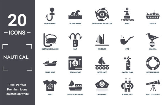 nautical icon set. include creative elements as fishing hook, frigate, pipe, wood raft, speed boat facing right, speed boat filled icons can be used for web design, presentation, report and diagram