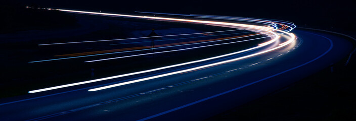 lights of moving cars at night. long exposure Fotomurales