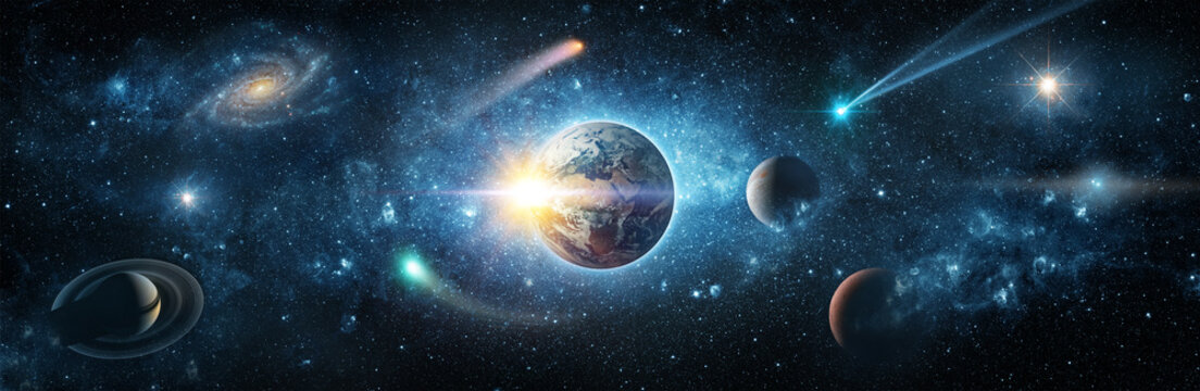 View from space to the planet Earth, galaxies, stars, comet, asteroid, meteorite, nebula, Saturn, Jupiter. Cosmic panorama of the universe. Space travel fantasy.