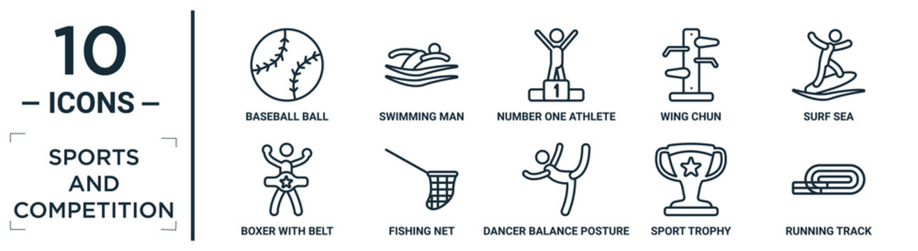 sports.and.competition linear icon set. includes thin line baseball ball, number one athlete, surf sea, fishing net, sport trophy, running track, boxer with belt icons for report, presentation,