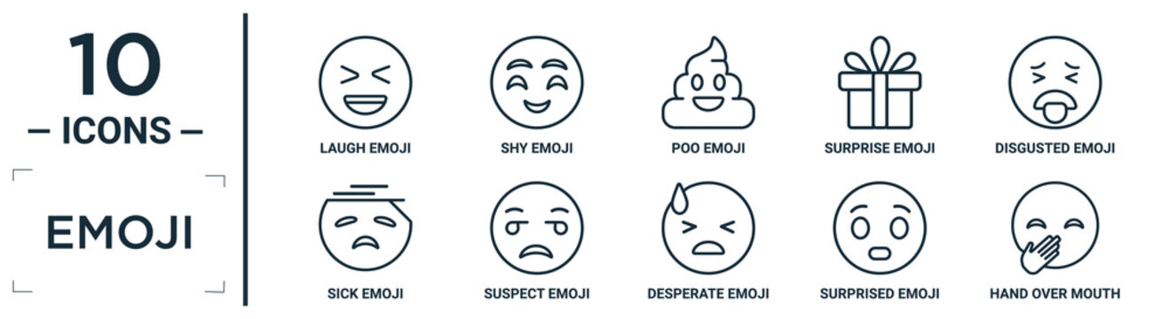 emoji linear icon set. includes thin line laugh emoji, poo emoji, disgusted suspect surprised hand over mouth sick icons for report, presentation, diagram, web design