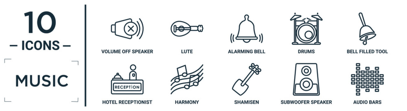 music linear icon set. includes thin line volume off speaker, alarming bell, bell filled tool, harmony, subwoofer speaker, audio bars, hotel receptionist icons for report, presentation, diagram, web