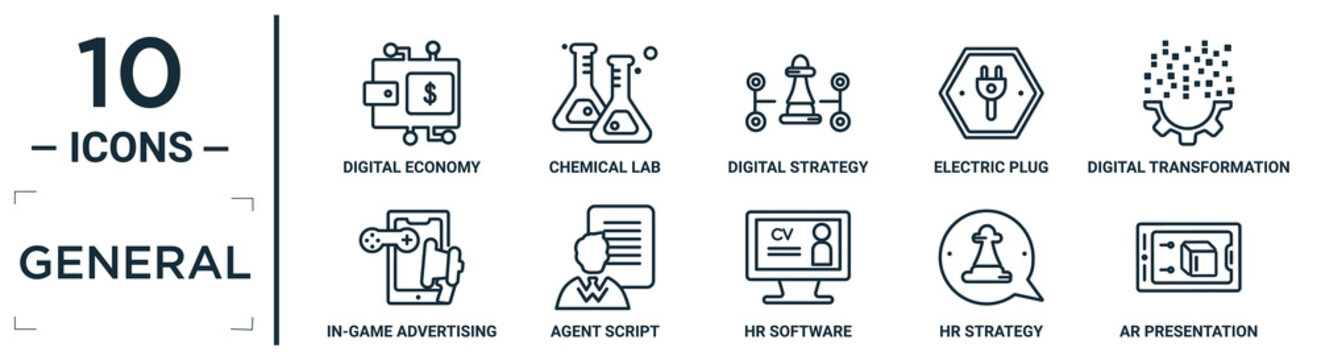 general linear icon set. includes thin line digital economy, digital strategy, digital transformation, agent script, hr strategy, ar presentation, in-game advertising icons for report, presentation,