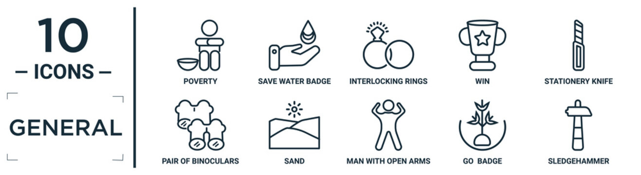general linear icon set. includes thin line poverty, interlocking rings, stationery knife, sand, go  badge, sledgehammer, pair of binoculars icons for report, presentation, diagram, web design
