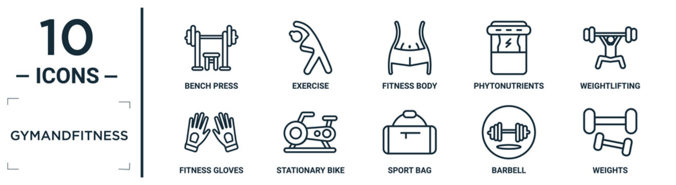 gymandfitness linear icon set. includes thin line bench press, fitness body, weightlifting, stationary bike, barbell, weights, fitness gloves icons for report, presentation, diagram, web design