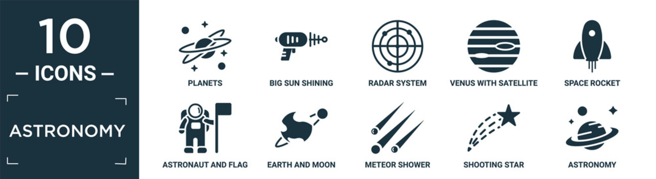 filled astronomy icon set. contain flat planets, big sun shining, radar system, venus with satellite, space rocket, astronaut and flag, earth and moon, meteor shower, shooting star, astronomy icons.