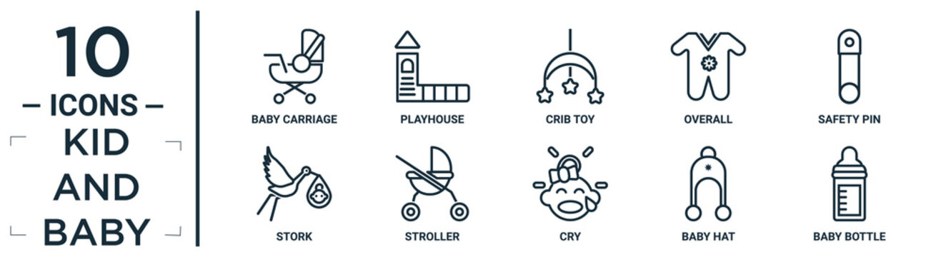 kid.and.baby linear icon set. includes thin line baby carriage, crib toy, safety pin, stroller, baby hat, baby bottle, stork icons for report, presentation, diagram, web design