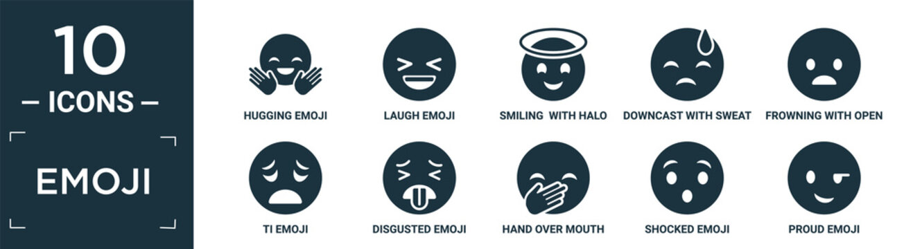 filled emoji icon set. contain flat hugging emoji, laugh emoji, smiling with halo downcast with sweat frowning with open mouth ti disgusted hand over mouth shocked proud icons in editable format..