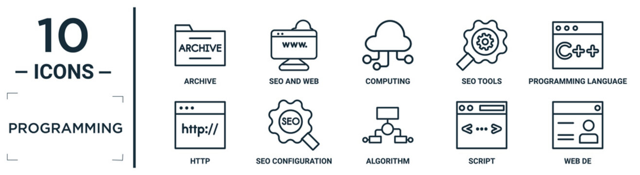 programming linear icon set. includes thin line archive, computing, programming language, seo configuration, script, web de, http icons for report, presentation, diagram, web design