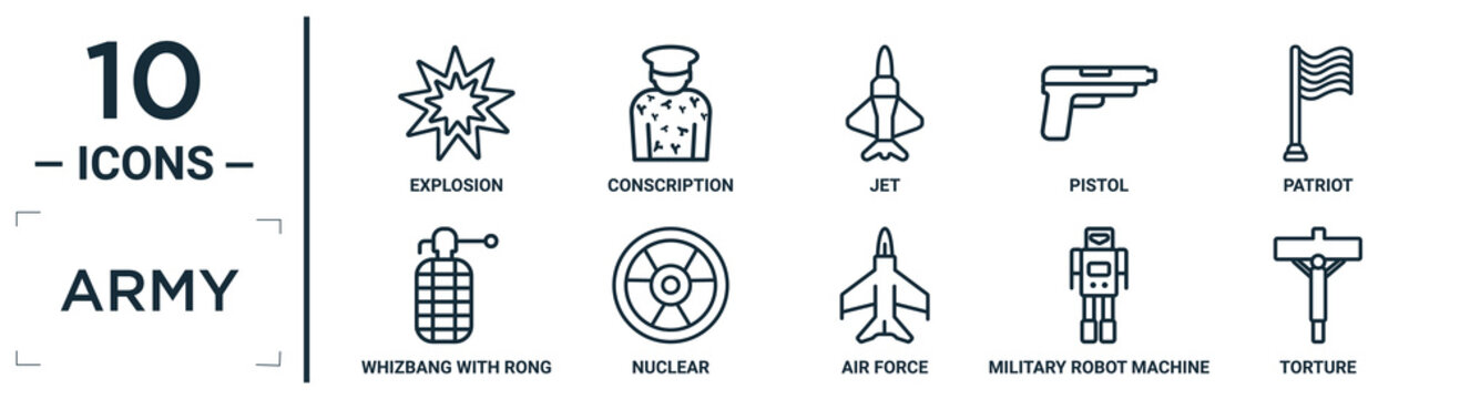 army linear icon set. includes thin line explosion, jet, patriot, nuclear, military robot machine, torture, whizbang with rong icons for report, presentation, diagram, web design