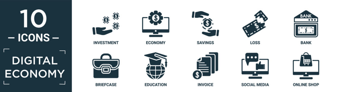 filled digital economy icon set. contain flat investment, economy, savings, loss, bank, briefcase, education, invoice, social media, online shop icons in editable format..