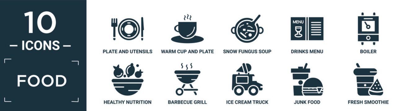 filled food icon set. contain flat plate and utensils, warm cup and plate, snow fungus soup, drinks menu, boiler, healthy nutrition, barbecue grill, ice cream truck, junk food, fresh smoothie icons.