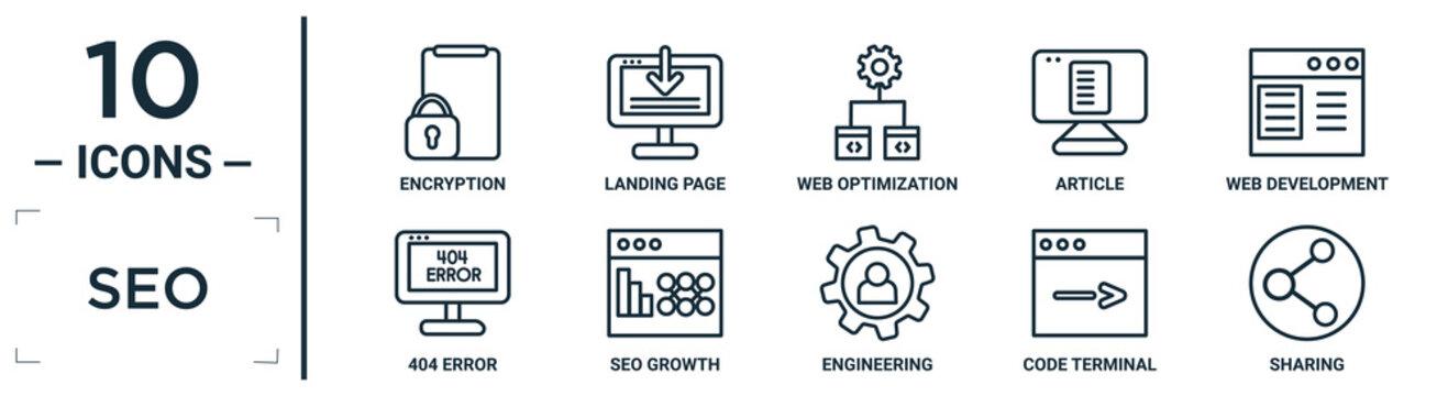 seo linear icon set. includes thin line encryption, web optimization, web development, seo growth, code terminal, sharing, 404 error icons for report, presentation, diagram, web design