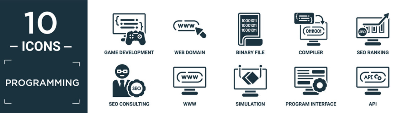 filled programming icon set. contain flat game development, web domain, binary file, compiler, seo ranking, seo consulting, www, simulation, program interface, api icons in editable format..