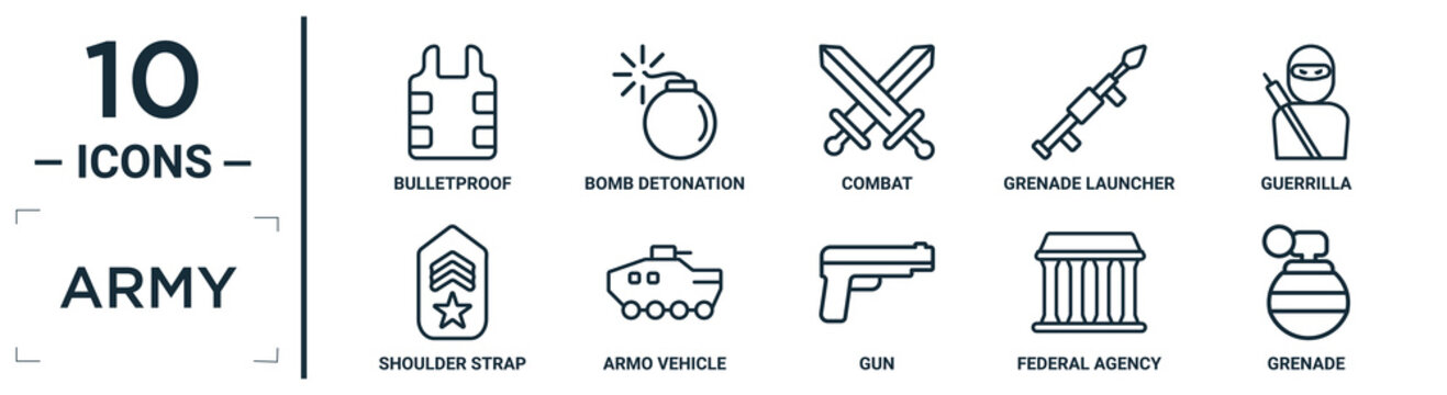 army linear icon set. includes thin line bulletproof, combat, guerrilla, armo vehicle, federal agency, grenade, shoulder strap icons for report, presentation, diagram, web design