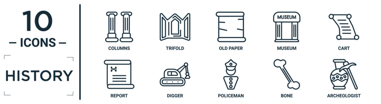history linear icon set. includes thin line columns, old paper, cart, digger, bone, archeologist, report icons for report, presentation, diagram, web design