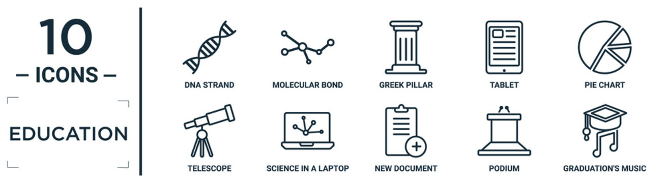education linear icon set. includes thin line dna strand, greek pillar, pie chart, science in a laptop, podium, graduation's music, telescope icons for report, presentation, diagram, web design