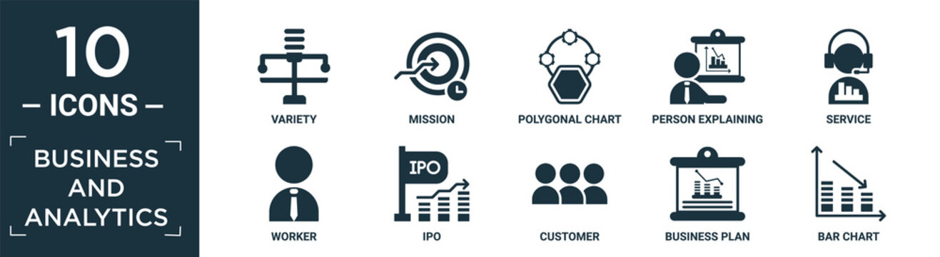 filled business and analytics icon set. contain flat variety, mission, polygonal chart, person explaining strategy, service, worker, ipo, customer, business plan, bar chart icons in editable format..