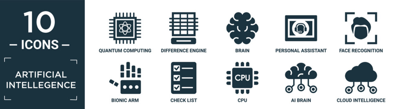 filled artificial intellegence icon set. contain flat quantum computing, difference engine, brain, personal assistant, face recognition, bionic arm, check list, cpu, ai brain, cloud intelligence.